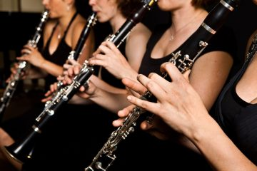 Clarinetist performance. Close up shot